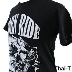 ロック・バイカーズ「BORN RIDE」半袖Tシャツ 微笑みの国「タイ王国」直輸入Tシャツ お土産 i_thai11