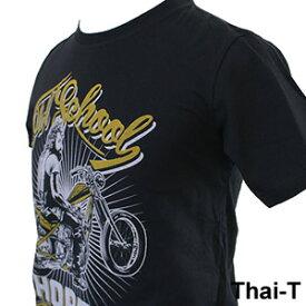 ロック・バイカーズ「Old School」半袖Tシャツ 微笑みの国「タイ王国」直輸入Tシャツ お土産 i_thai12