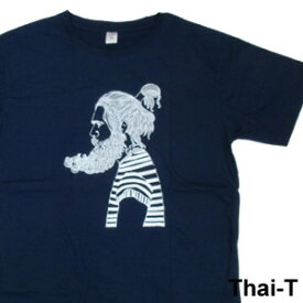 ユニークなイラスト「ヒゲ男」半袖Tシャツ 微笑みの国「タイ王国」直輸入Tシャツ お土産 i_thai34