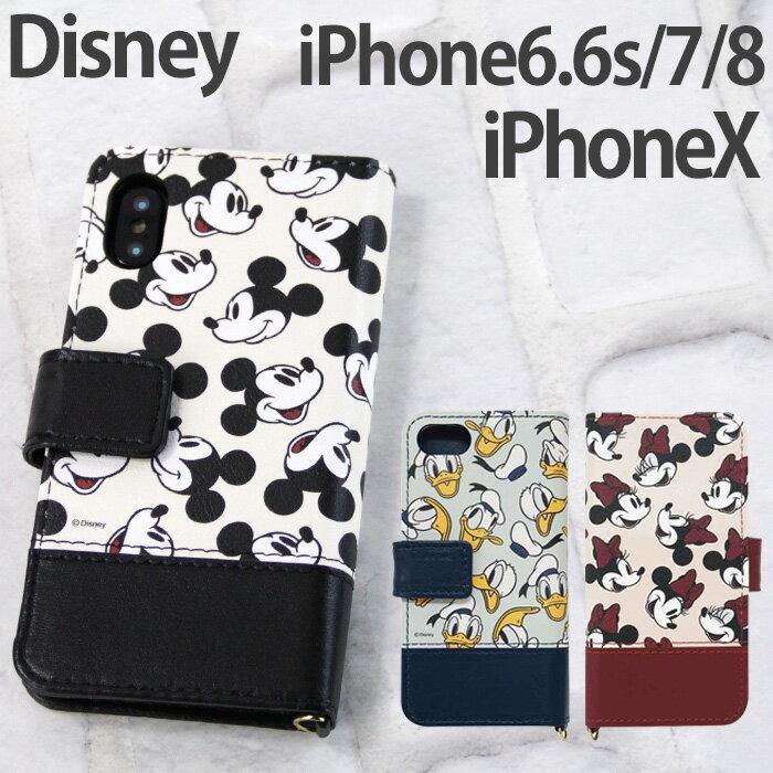 iPhoneX iPhone8 iPhone7 iPhone6S iPhone6 ディズニー ミッキー ミニー ドナルドダック 手帳型 スマホ ケース カバー