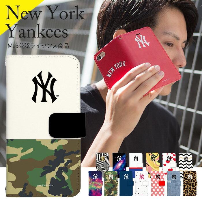 iPhone8 iPhoneX ケース スマホケース 手帳型 全機種対応 (iPhone8 Plus iPhone7 Plus iPhone 6S Plus iPhone SE アイフォン8 カバー aquos r galaxy s8 xperia x performance huawei p10 lite Android One zenfone) デザイン MLB公認ライセンス NY ヤンキース