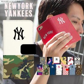 MLB スマホケース 手帳型 全機種対応 iPhone8 ケース AQUOS R3 iPhoneXS Max iPhoneXR Xperia ace android one pixel3a galaxy A30 s10 arrows be3 galaxy s10 デザイン NY ヤンキース コラボ 携帯ケース カバー ベルトなし あり かわいい おしゃれ