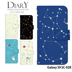 Galaxy S9 docomo SC-02K ケース 手帳型 ギャラクシー ドコモ 携帯ケース カバー デザイン 星座と宇宙