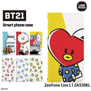 ZenFone Live L1 ZA550KL ケース 手帳型 スマホケース ゼンフォン asus エイスース 携帯 カバー デザイン BT21 公式 TATA COOKY RJ CHIMMY KOYA MANG SHOOKY VAN