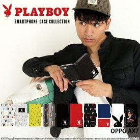 OPPO AX7 ケース 手帳型 スマホケース 楽天モバイル オッポ 携帯 カバー デザイン プレイボーイ PLAYBOY plby ブランド コラボ ベルトなし あり かわいい おしゃれ