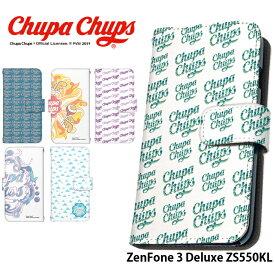 ZenFone 3 Deluxe ZS550KL ケース 手帳型 スマホケース ゼンフォン 携帯ケース カバー デザイン チュッパチャプス Chupa Chups