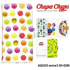 AQUOS sense3 SH-02M ケース 手帳型 スマホケース アクオスセンス3 sh02m 携帯ケース カバー デザイン Chupa Chups チュッパチャプス かわいい おしゃれ