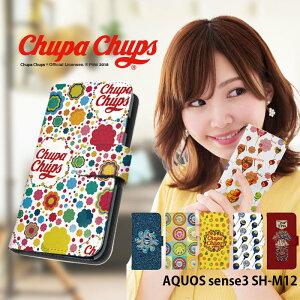 AQUOS sense3 SH-M12 ケース 手帳型 スマホケース アクオスセンス3 携帯ケース カバー デザイン Chupa Chups チュッパチャプス かわいい おしゃれ