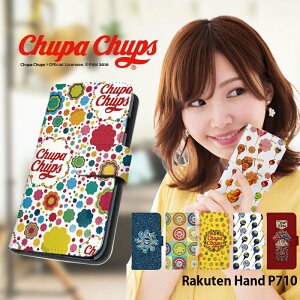 Rakuten Hand ケース 手帳型 P710 カバー 楽天ハンド 手帳型ケース デザイン chupa chups チュッパチャプス