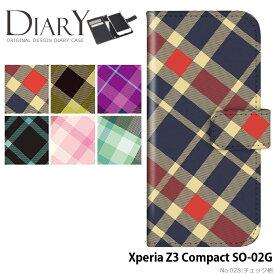 Xperia Z3 Compact SO-02G ケース 手帳型 エクスペリア docomo ドコモ 携帯ケース カバー デザイン チェック柄