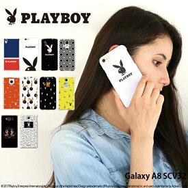 Galaxy A8 SCV32 ケース ギャラクシー au ハード カバー scv32 デザイン プレイボーイ PLAYBOY