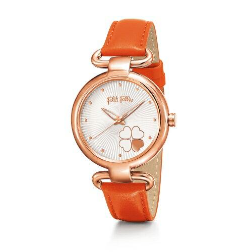2年保証 FolliFollie フォリフォリ 腕時計 レディース Heart4Heart WF15R029SPW WF15R029SPW-OR 四葉 クローバー ローズゴールド オレンジ レザー クォーツ 電池式 【smtb-m】