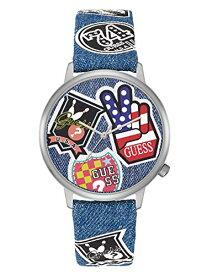 2年保証 Guess ゲス ORIGINALS オリジナル Hollywood ハリウッド 腕時計 メンズ レディース V1004M1 ステンレス デニム レザーベルト ブルー マルチ ステッカー 銀 クォーツ 電池式【smtb-m】