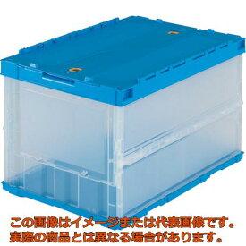 TRUSCO 薄型折りたたみコンテナ 50Lロックフタ付 透明 TRC50B TM