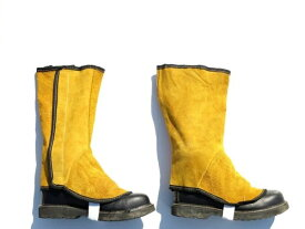 革製すねあて 脚半 きゃはん/ゲートル 安全靴保護ガード/アウトドア バーベキュー/【送料無料】代引不可/