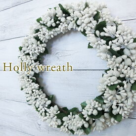 【送料無料】ヒイラギ リース 直径 22cmインテリア 雑貨造花 ドア 壁掛けクリスマスリース