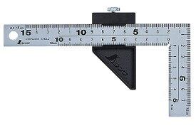 ☆シンワ 12433 曲尺厚手広巾 シルバー 15cm表裏同目 8段目盛 ストッパー付