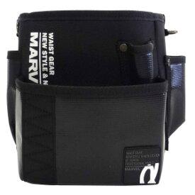 ☆MARVEL/マーベル MDP-90ABKL WAIST GEAR(α-シリーズ) 電工ポケット ワイド二段タイプ ブラック 腰袋  コード(1159512)