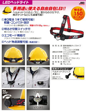 ☆MARVEL/マーベルJHD-150ジョブマスターLEDヘッドライト明るさ150ルーメンコード(1153476)【RCP】