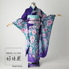 振袖 レンタル フルセット 正絹 着物 【レンタル】 結婚式 成人式 身長161-176cm 紫 pu-002-s
