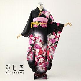振袖 レンタル フルセット 正絹 着物 【レンタル】 結婚式 成人式 身長159-174cm 黒 bk-020-s
