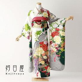 振袖 レンタル フルセット 正絹 着物 結婚式 成人式 身長152-167cm 白 wh-063