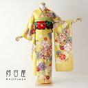 振袖 レンタル フルセット 正絹 着物 結婚式 成人式 身長153-168cm 黄 ye-015-s