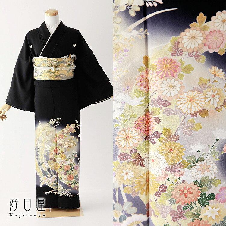 留袖 レンタル フルセット 正絹 着物 結婚式 黒留袖 身長157-172cm 五つ紋 t-073