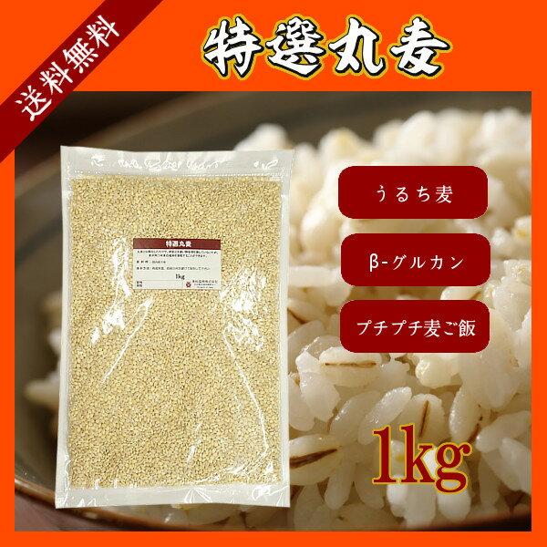 特選丸麦 1kg〔チャック付〕 メール便 送料無料 チャック付 国産 特選 大麦 食物繊維 βグルカン こわけや