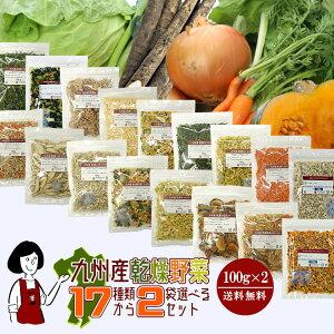 九州産乾燥野菜17種類から2袋(計200g)選べるセット/メール便 送料無料 チャック付 九州産 国産 ボイル済み ドライベジ 保存食 時間短縮 ミックス スープ 小分け こわけや