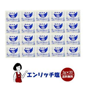 エンリッチ塩 2g×20袋 メール便 送料無料 小袋 使いきり 調味料 塩 アウトドア お弁当 イベント 和食 洋食 肉料理 野菜料理 魚料理 BQQ 小分け テイクアウト こわけや