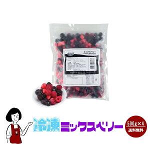 冷凍ミックスベリー 500g×4袋(計2kg)/クール便で送料無料 ブルーベリー ストロベリー ブラックベリー ラズベリー