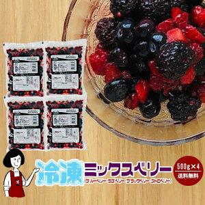 冷凍ミックスベリー《4種》 500g×4袋(計2kg)/クール便で送料無料 ブルーベリー ストロベリー ブラックベリー ラズベリー
