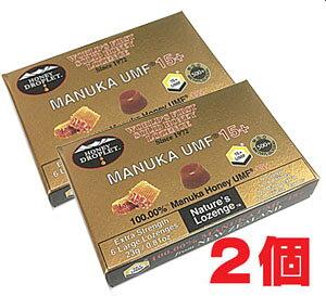 ★ゆうメール発送・送料無料★ハニードロップレット100%UMF マヌカハニー(37ハニー)15+(のど飴) x1箱(6粒入り)×2個
