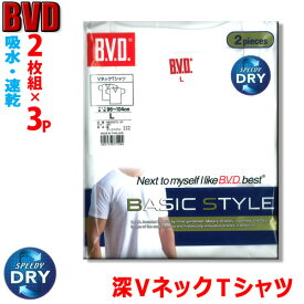 【送料無料】BVD 深VネックTシャツ2枚組×3パック【6枚】BASIC STYLE(※宅配便発送専用ページ)