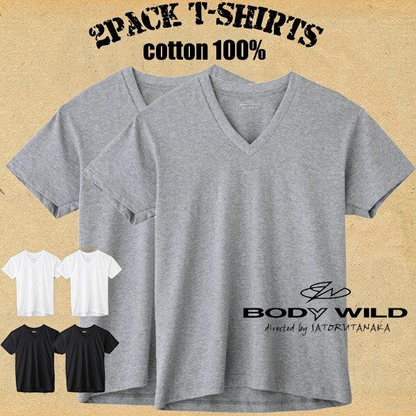 【メール便送料無料】グンゼ ボディワイルド 綿100%VネックTシャツ(2枚組)半袖 天竺 抗菌防臭