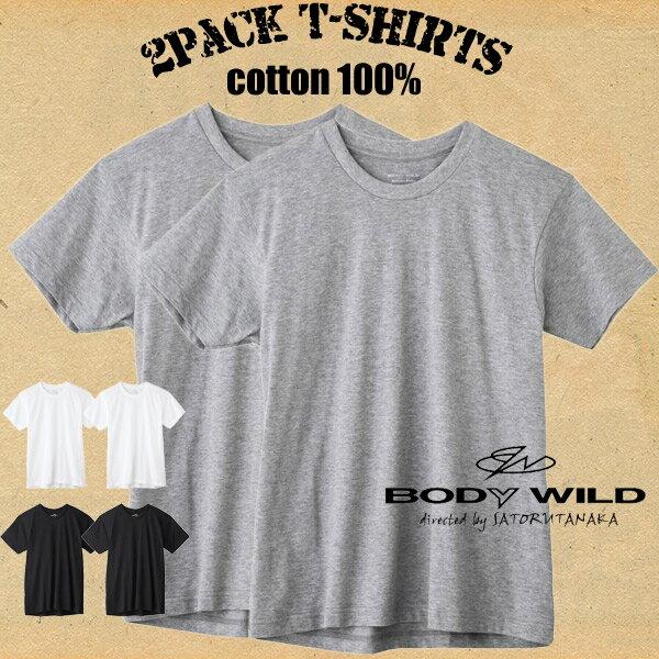 【メール便送料無料】グンゼ ボディワイルド 綿100%クルーネックTシャツ(2枚組)半袖 天竺 抗菌防臭