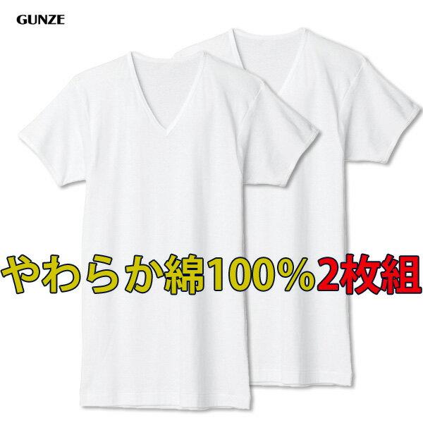 【メール便送料無料】グンゼ 綿100%VネックTシャツ2枚組 やわらか肌着 半袖 V首 フライス 抗菌防臭