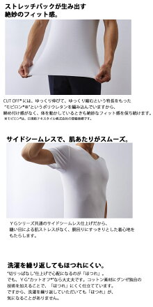 【メール便送料無料】グンゼYGCUTOFF(カットオフ)仕様VネックTシャツ抗菌防臭【日本製】