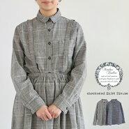 【送料無料】グレンチェックグラフチェック丸衿シャツブラウスMashuKashuマシュカシュ