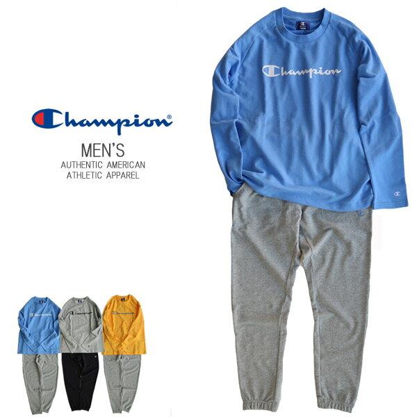 【SALE】【送料無料】Championメンズ スウェット 上下セットミニ裏毛 長袖&長パンツ セットアップ ルームウエア