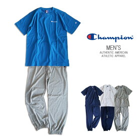 【SALE】【送料無料】Championメンズ 半袖Tシャツ&長ズボン 上下セット 長パンツ セットアップ ルームウエア
