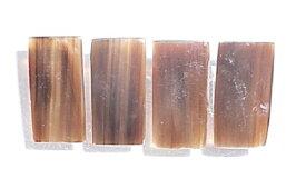 希少水牛光学プレート 有機素材 約(縦、30m/m×横、10m/m×厚み、1m/m) 左より 黒(天然色) ブラウン(天然色) 薄茶(天然色)。1枚の価格です。
