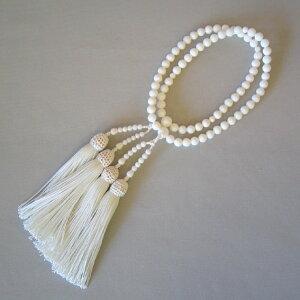 ■送料無料■女性用数珠(二輪)白本珊瑚(6.0mm玉)正絹白頭房【桐箱入り】【smtb-TK】