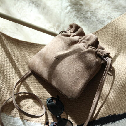 Folna(フォルナ)PIGスエード巾着ショルダーミニレザーバッグ/豚革/日本製
