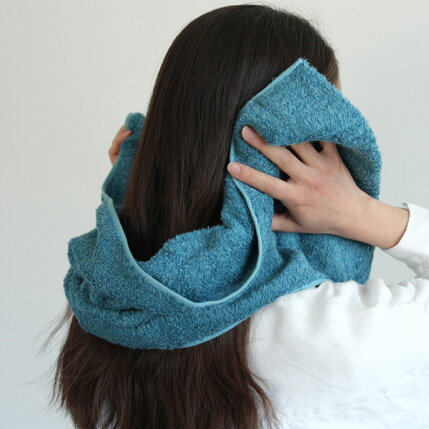 CUOL(クオル)タオルではじめる美髪ケア/スリムバスタオル34×110cmヴィンテージブルー/アイスグレーヘアケア/インテリア/今治タオル/日本製