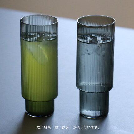 fermLIVING(ファームリビング)RippleLongDrinkGlasses(リップルロンググラス)4個セットスモークグレー北欧/ガラス食器/日本正規代理店品