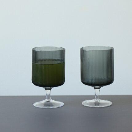 fermLIVING(ファームリビング)RippleWineGlasses(リップルワイングラス)2個セットスモークグレー北欧/ガラス食器/日本正規代理店品