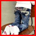 韓国子供服 男の子 デニム【NEW YORK PAPA トライバルハート刺繍キッズ ジュニアデニムパンツ】子供服 男の子 子供服 …