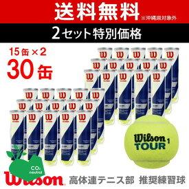 【最大4000円クーポン】【365日出荷】「あす楽対応」【2箱セット】Wilson(ウイルソン)【TOUR STANDARD(ツアー・スタンダード) (15缶×2=120球) WRT103800】テニスボール 『即日出荷』